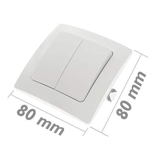 BeMatik - Interruptor Doble empotrable con Marco 80x80mm Serie Lille de Color...
