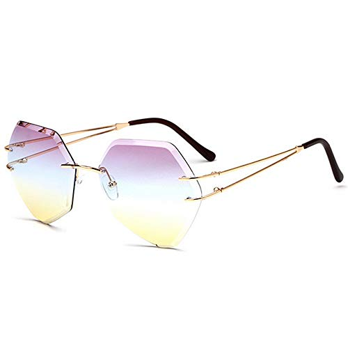 Yiph-Sunglass Sonnenbrillen Mode Polygonform Frameless Style Damen Sonnenbrille Farbige Linse UV400 Schutz Fahren Radfahren Laufen Angeln (Farbe : C4)