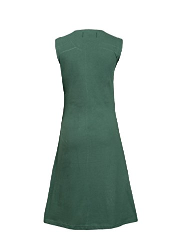 Mesdames robe sans manches avec des fleurs d'été coloré broderie green
