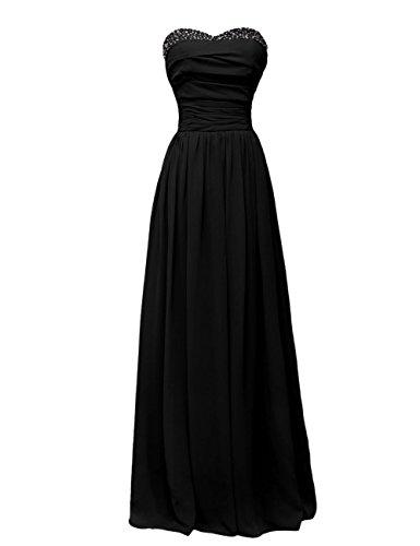 Dressystar Robe femme, Robe de soirée longue,simple,bustier, en Mousseline Noir