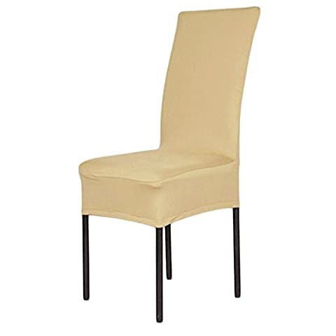 Stretch Short Banquet Dining Rooms Seat Chair Covers Slipcover Protector Solid Color,Champagne