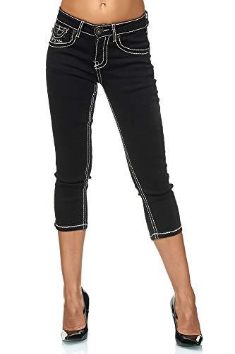 Elara Damen Capri Hose   Slim Fit Jeans   Dicke Naht   Chunkyrayan 99-Black-44 -