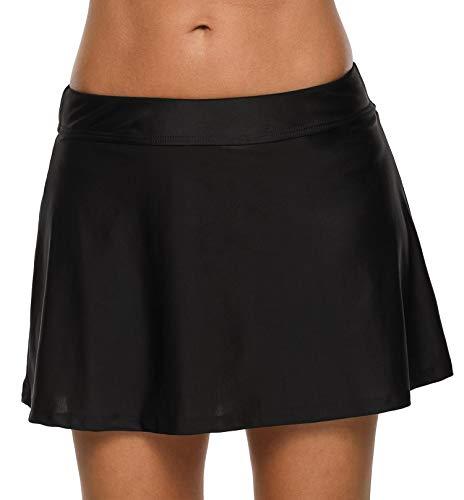 Anwell Damen Krause Rock Bikini Unterhose Bund Schwimmen Rock Badeanzug Schwarz XL - Mit Bikini Schwarzer Rock