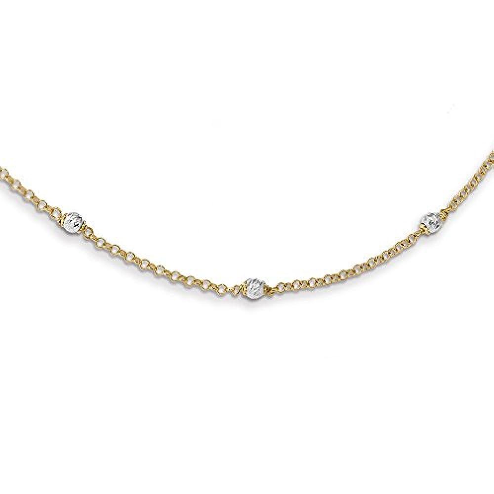 14ct zweifarbig poliert diamantiert Fancy Perlen mit 2in Ext Halskette–41cm