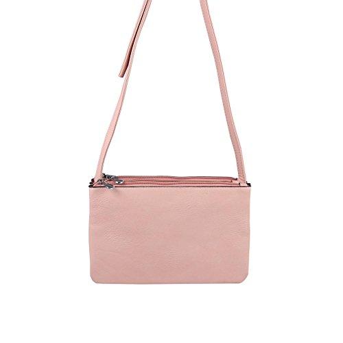 OBC DESIGN ITALIANO Clutch Borsa a tracolla borsa da donna borsetta Crossover Borsa a tracolla portamonete borsa di gioielli - NERO 19x25x8 cm, ca 19x25x8 cm ( BxHxT ) rosa
