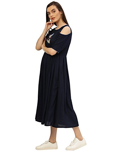 Desi-Fusion-Womens-A-Line-Navy-Blue-Cold-Shoulder-Embroidered-Rayon-Dress