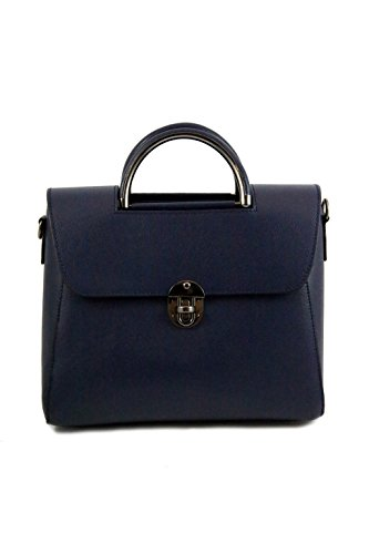 Borsa in pelle a mano da Donna Made in Italy, capiente ed elegante - Amica Moda BPL1100 Blu