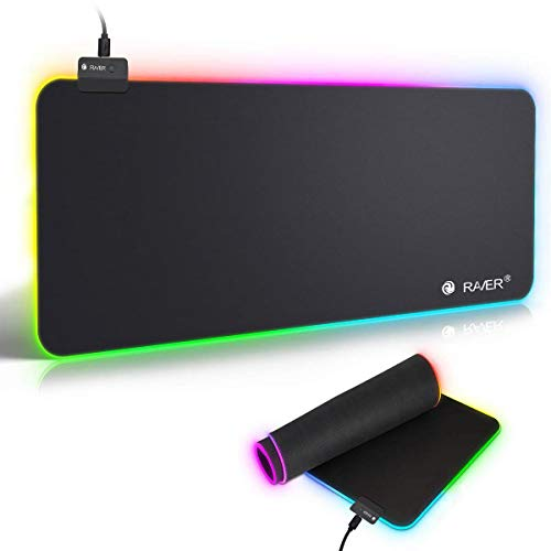 LED Gaming Mauspad RGB Mauspad with 7 LED Farben 10 Beleuchtungs-Modi USB Gaming Mouse Mat Anti Rutsch Matte für Computer Professionelle Gamer -