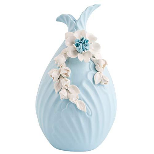 Vase en céramique Vase Artisanat Vase en céramique créative de Style Nordique Moderne Pièce modèle Salon Maison Armoire à vin décoration Ornements (Color : Blue, Size : 29 * 16.5 * 16.5cm)