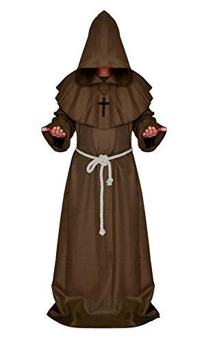 Braun - Kostüm mit Kapuze Mönchpriester Mönch Mittelalter - Mann Frau Unisex - Verkleidung Karneval Halloween Cosplay Zubehör ()