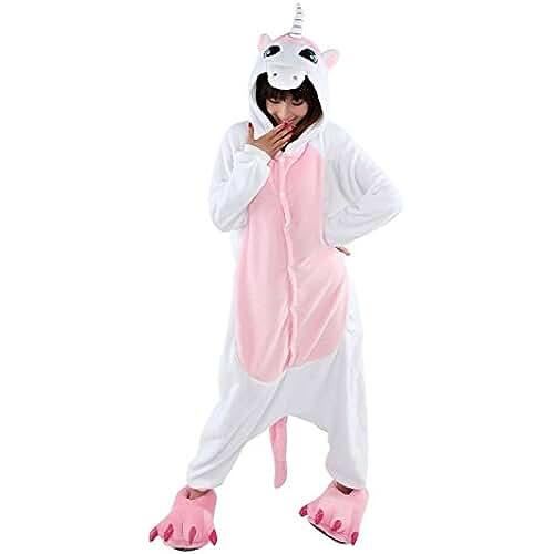 LIHAO Pijama Disfraz de Unicornio Rosado para Adulto Unisex, Cosplay, Carnaval (Talla:M)