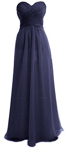 MACloth Women Strapless Chiffon Sequin Long Prom Dress Wedding Party Formal Gown Dunkelmarine