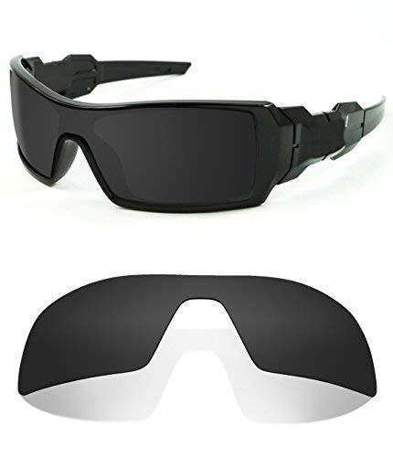 Littlebird4 Polarisierte Ersatzgläser für Oakley Oil Rig Sonnenbrillen, 1,5 mm, Schwarz