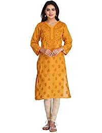 ADA Hand Embroidered Lucknowi Chikankari Regular Fit Cotton Kurti (A224112_Mustard)