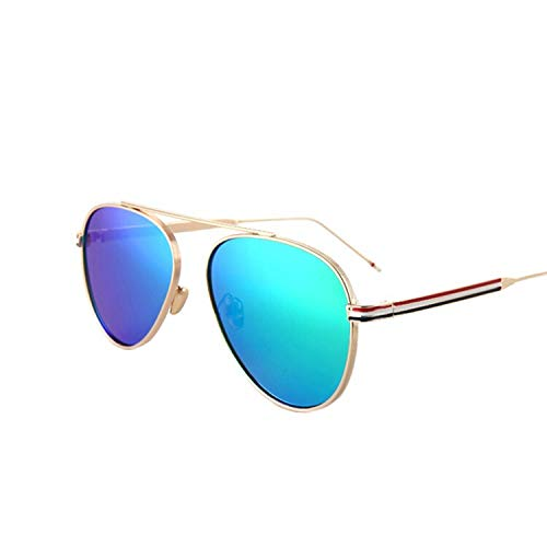 YUHANGH Flat Top Pilot Sonnenbrille Frauen Mode Sonnenbrille Für Frauen Streifen Metall Tempel Klar Linse Lady De Sol