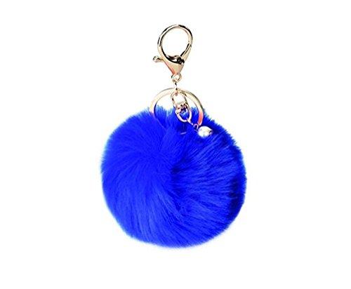 (ILOVEDIY Kaninchenpelz Kugel Schlüsselanhänger mit Perlen anhänger, Blau)