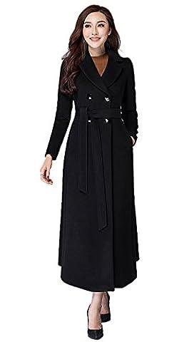 Insun Women's Notch Lapel Double Breasted Long Wool Coat XS Black