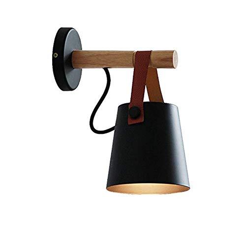 FUSKANG Moderne applique da parete in legno, mini lampade da parete nordiche, comodino in legno da incasso E27 basi per paralumi in metallo forgiatura, per camera da letto soggiorno casa, bar, corrido