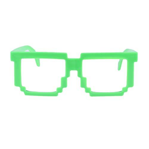 Amosfun 1 Paar pixelierte Brille kreative Mosaik-Sonnenbrille Spielzeug Party Supplies Foto Requisiten (hellgrün)