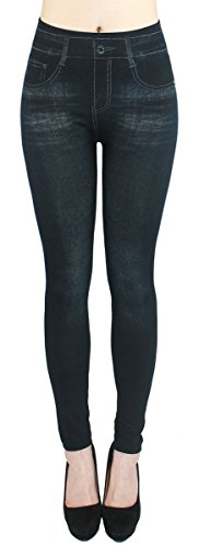 Leggings Damen High Waist Stone Washed Optik Jeggings - OneSize Gr.36-42 - JL093 (JL218-Schwarz)