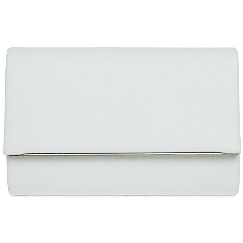 Clutch Aus Weißem Leder Handtaschen (CASPAR TA361 elegante Damen Envelope Clutch Tasche / Abendtasche mit langer Kette, Farbe:weiss;Größe:One Size)