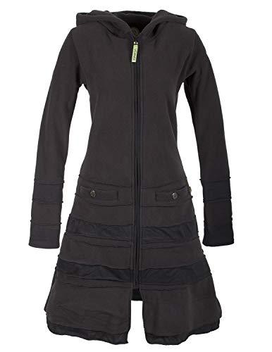 Vishes - Alternative Bekleidung - Langer Damen Patchwork Eco Recycling Fleecemantel mit Kapuze schwarz 46
