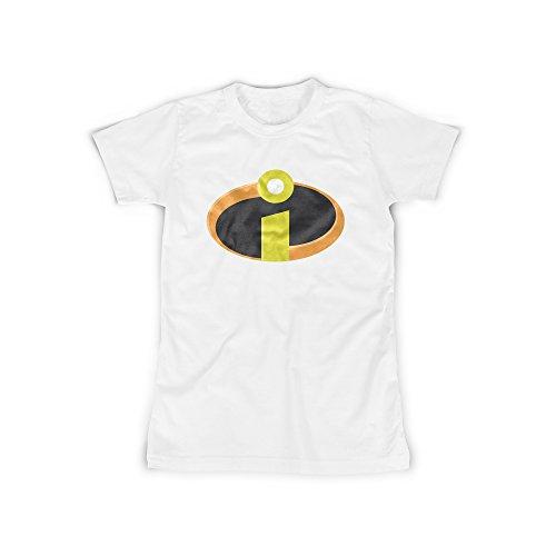 ufdruck in Weiß Gr. XXL Superhelden Familie Design Girl Top Mädchen Shirt Damen Basic 100% Baumwolle Kurzarm (Roboter Kostüm Für Mädchen)