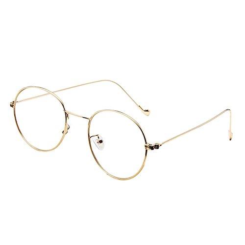 Zhuhaixmy Mode Klare Linse Brille Vintage Schüler Optische Gläser Unisex Runde Metall Rahmen Brillen