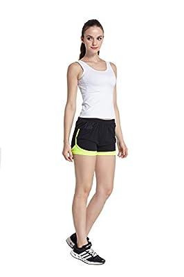 Phibee Women's 2-in-1 Running Shorts Elasticity Lightweight Trousers