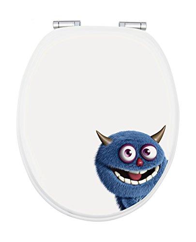 WC-Sitz Dekor Monster Ecky | Toilettensitz | WC-Brille aus Holz | Soft-Close Absenkautomatik | Metall-Scharnier | Fast-Fix-Schnellbefestigung | Toilettendeckel | Klodeckel | WC Deckel | Klobrille