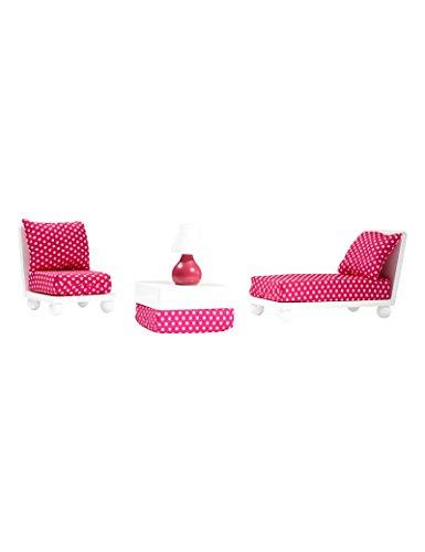 WeGirls Set di Londra Mobili in legno per le bambole, Poltrona e divano, Tavolino, Lampada, 2 cuscini decorativi