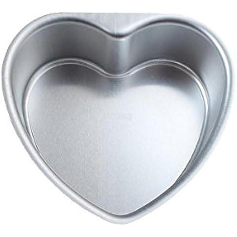 MKOOL Herramienta para hornear latas de aluminio del corazón de la torta de pan de mollete de la magdalena del molde inferior Vivo