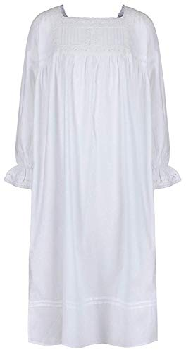 Nachthemd 100% Cotton Vintage Viktorianisches Stil - Alter 4-14 - Einfach Weiß - Emma, Age 4-5 ()