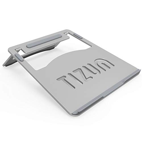 Tizum Laptop Stand, Portable-Folding, Anodised Aluminium with Steady Ergonomics Designed for 7 to 10-Inch Tabs & 11-Inch to 15.6-Inch Laptops (Silver)