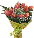 Ramo de flores naturales a domicilio de tulipanes con el envio y la nota dedicatoria incluidos en el precio