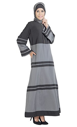 East Essence - Robe - À Rayures - Femme Multicolore - Grey and Black