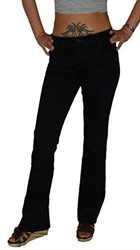 Voggo Damen Stretch Boot-Cut Jeans Hose, schwarz V2164, Gr.42 -