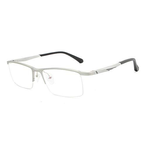 Gläser Aluminium-Magnesium-Brillengestell Ultraleichter, Anti-Blauer Flacher Spiegel Optischer Metall-Brillengestell mit Halbrahmen Brillen (Color : Silber, Size : Kostenlos)