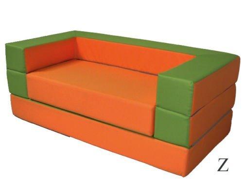 Kindersofa mit Bettfunktion 4in1 Matratze Spieltisch Puzzle Sofa für Kinder Spielsofa Orange Grün Kinderzimmer Spielzimmer (Orange+Grün)