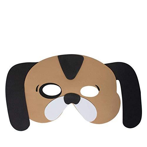 Werbewas 1x Schaumstoff Masken mit Hund groß Tiermotiv - als Karnevals, Halloween, Geburtstags-Party Kostüm