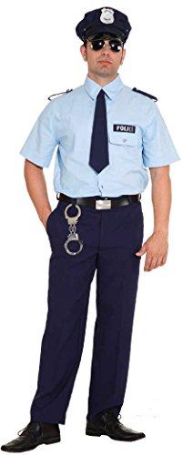 O7234-54-56 hell blau-blau Herren Polizei Kostüm Cop Gr.54-56 (Mädchen Cops Kostüme)