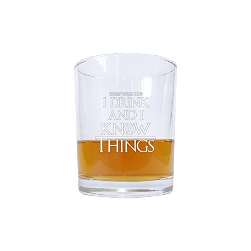 """Whisky-Glas, inspiriert durch Game of Thrones, mit Zitat: \""""I Drink and I Know Things\"""""""