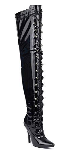 Herren Schwarz über dem Knie Oberschenkel hohe Sexy Stiletto Heel Fetisch Kinky Boots Größe 9101112verschiedenen Designs, Black Patent (11720), 44 EU - Pointy Toe Boot