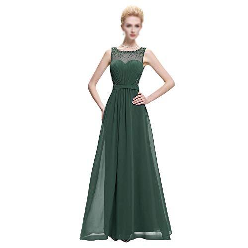 Rocke Damen Kleid Retro Perlen Spitze Vintage Schlank Hochzeit Maxi Formal Langes Kleid (Farbe : Grün, Size : US16) Hochzeit Formales Kleid