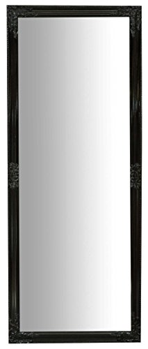 Specchio Specchiera da Parete con Cornice Rettangolare in Legno 72x3x180 cm Finitura Nero Lucido da Appendere Verticale/Orizzontale