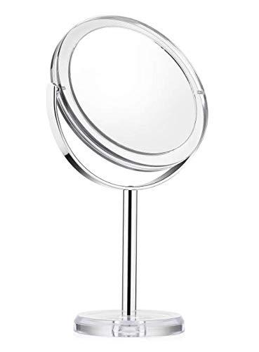 Scopri offerta per Auxmir Specchio Trucco da Tavolo Bifacciale Specchio Ingranditore 10X/1X Specchio da Bagno Rotazione a 360 Stile Retrò Supporto Cromato Bordo e Piedistallo Trasparente