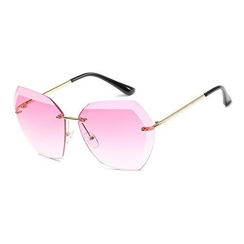 CQYYDD Randlose Diamant-schneidlinse Sonnenbrille Frauen Marke Shades Sonnenbrille Oversize Männlich Weiblich Brille UV400 Gold Rose rot