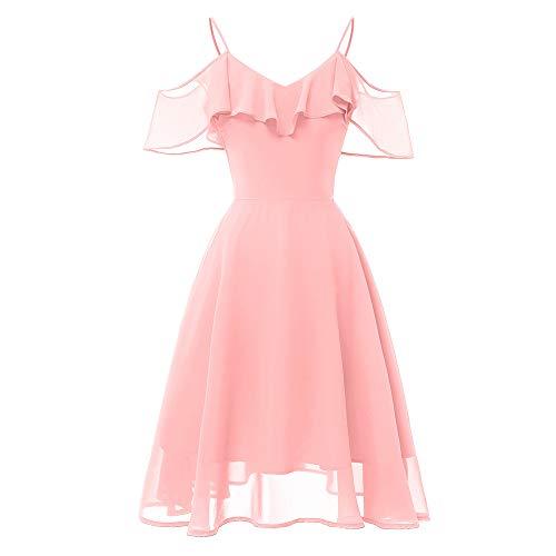 feiXIANG Damen Freizeit Kleid V-Ausschnitt Cocktail Swing Kleid Abendkleider Blusenkleider Ballkleid...