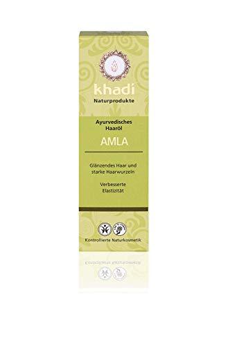 khadi Ayurvedisches Haar-Öl Amla 100ml I natürliche Haar-Pflege für jedes Haar I traditionelles Mittel bei Haarausfall und grauen Haaren I Naturkosmetik aus pflanzlichen Ölen und Kräutern - Haar öl Amla
