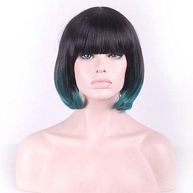 HJL-europe et les etats-unis perruque gradient noir vert courte cheveux raides femme , 12 inch